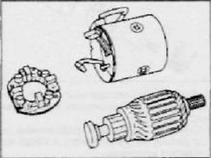 снимаем — щеткодержатель, якорь и корпус